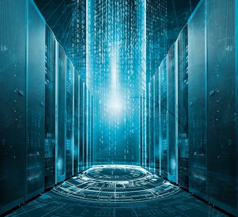Modern digital graph holograms flying over mainframes of server room in data center royalty free illustration