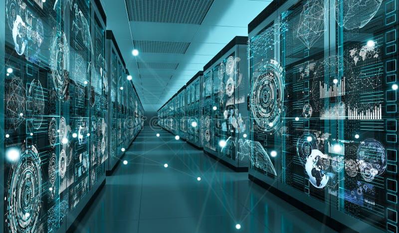 Graph holograms flying over server room data center 3D rendering royalty free illustration