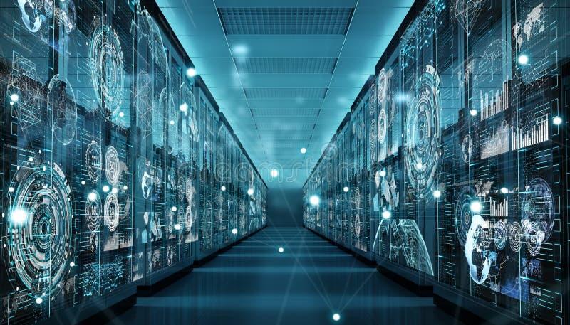 Graph holograms flying over server room data center 3D rendering vector illustration