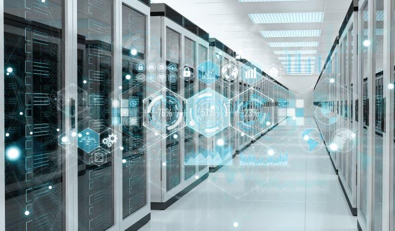 Graph holograms flying over server room data center 3D rendering stock illustration