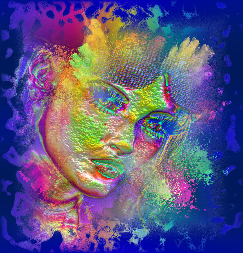 Modern digital konstbild av en kvinnas framsida, slut upp med färgrik abstrakt bakgrund royaltyfri illustrationer