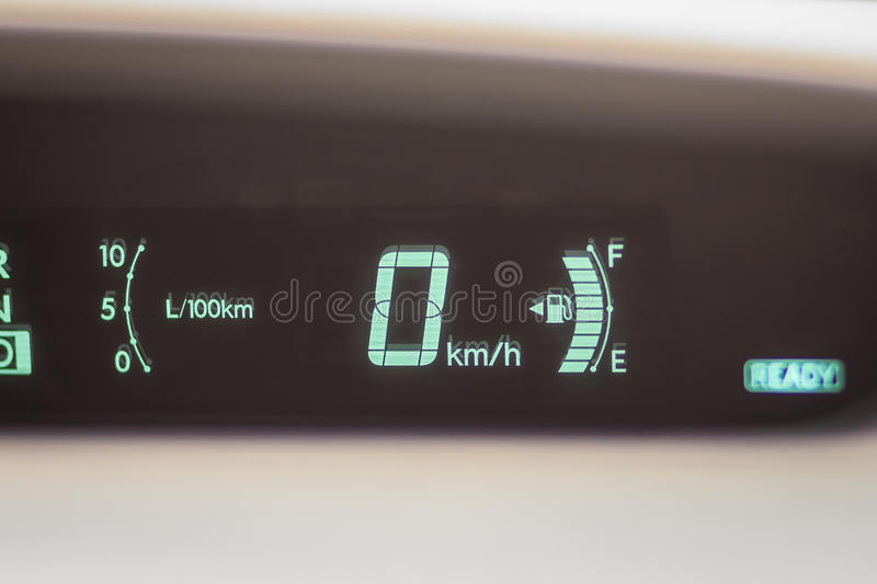 Modern digital mileage odometer and speed meter on dashboard when parking at 0 km/h. royalty free stock images