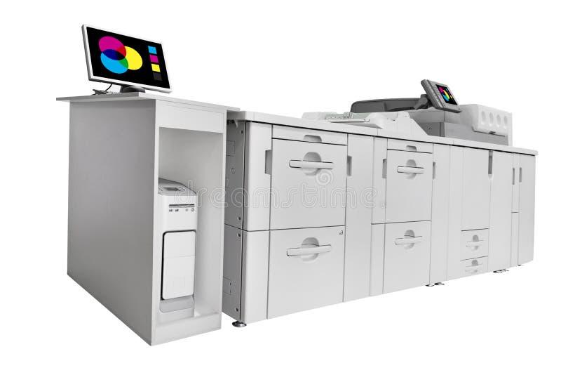 Modern Digital printingmaskin som isoleras på vit royaltyfri fotografi