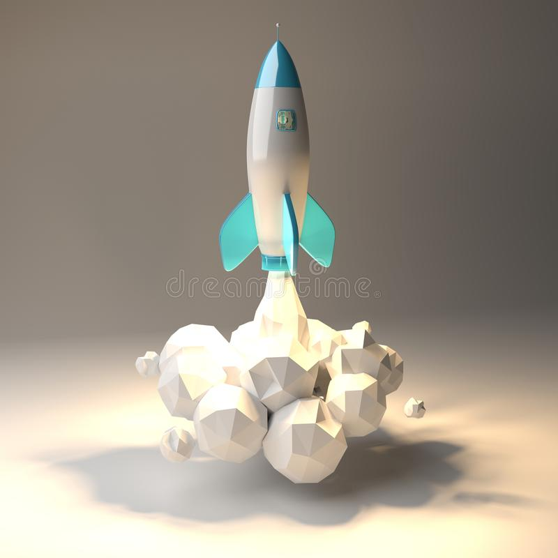 Modern digital rocket launching 3D rendering vector illustration