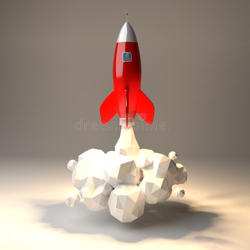Modern digital rocket launching 3D rendering. Modern digital rocket launching on grey background 3D rendering royalty free illustration