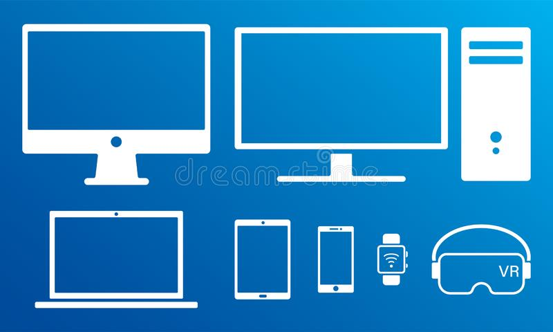 Modern digital screens white icons isolated set royalty free illustration