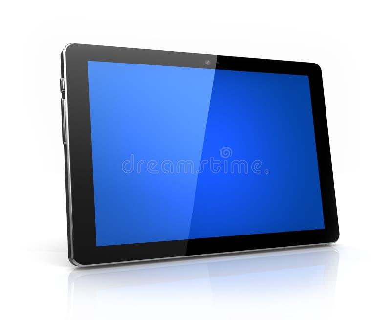 Modern digital tablet with blue screen vector illustration