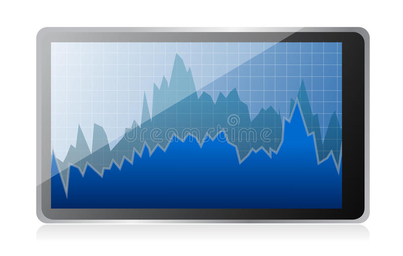 Modern Digital Tablet Computer With Stock Market Stock Image