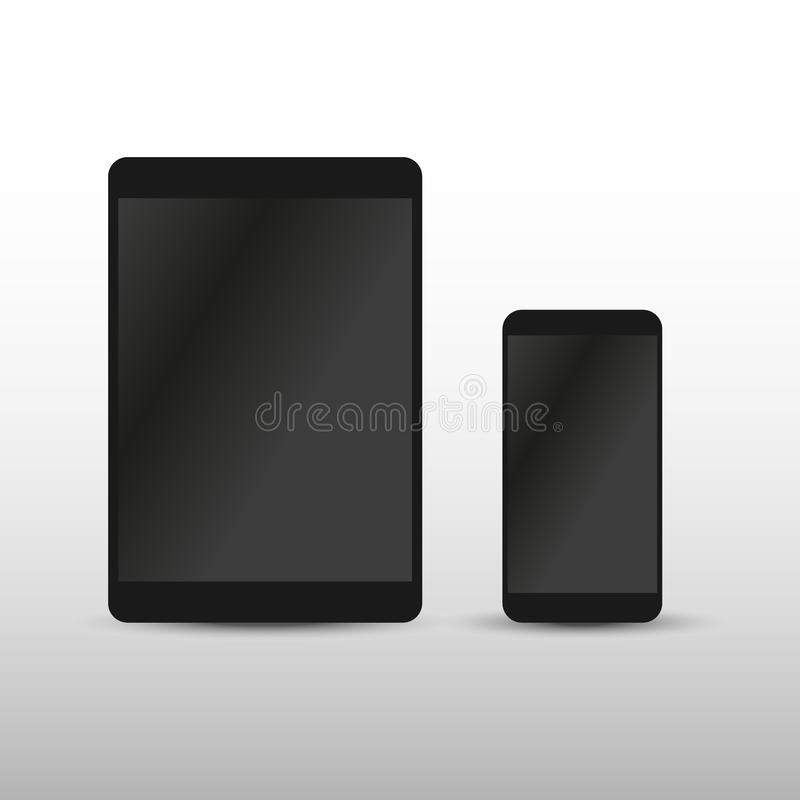 Modern digital tablet PC with mobile smartphone isolated on white. Vector EPS10 royalty free illustration