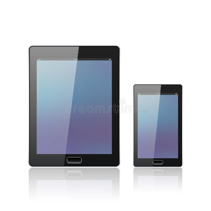 Modern digital tablet PC with mobile smartphone on the white. Android tablet. 3d smartphone. Blue vector illustration