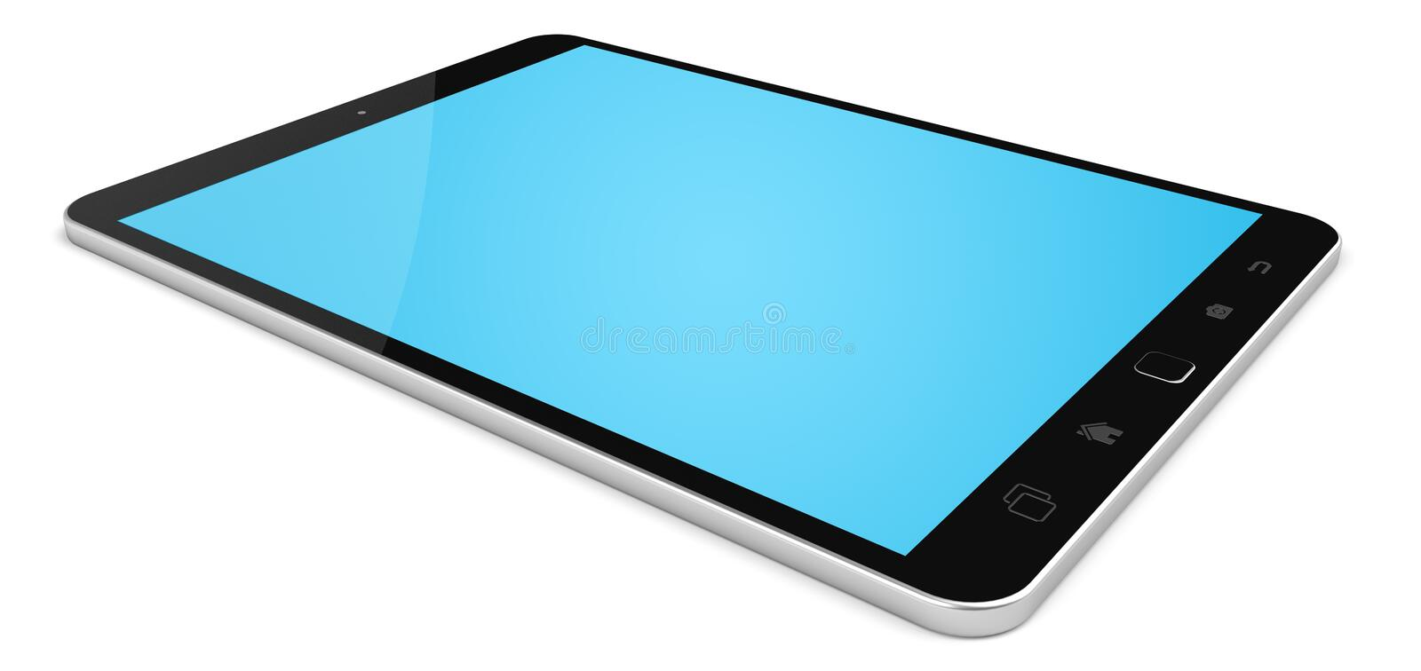 Modern digital tactile tablet 3D rendering vector illustration