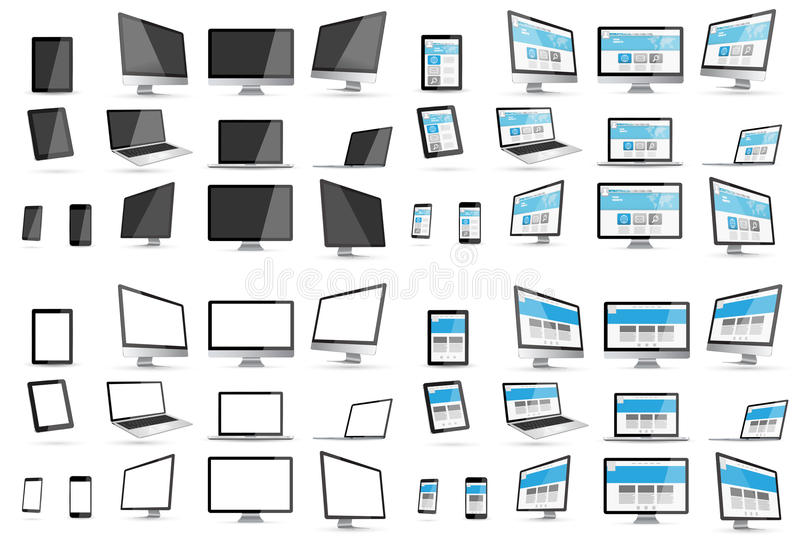 Modern digital tech device collection royalty free illustration