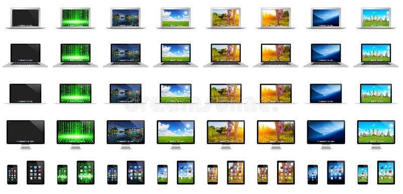 Modern digital tech devices royalty free illustration