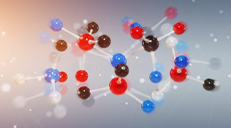 Modern digital tolkning för molekylstruktur 3D vektor illustrationer