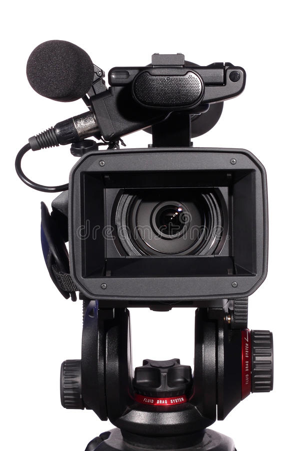 Modern digital video camera. Professional camera isolated over white stock photos
