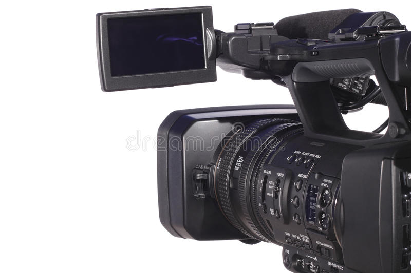 Modern digital video camera. Isolated over white royalty free stock photos