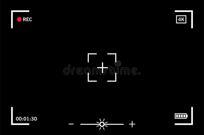 Modern digital video camera focusing screen. On black background royalty free illustration