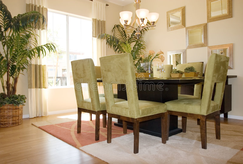 Modern dining room stock photography