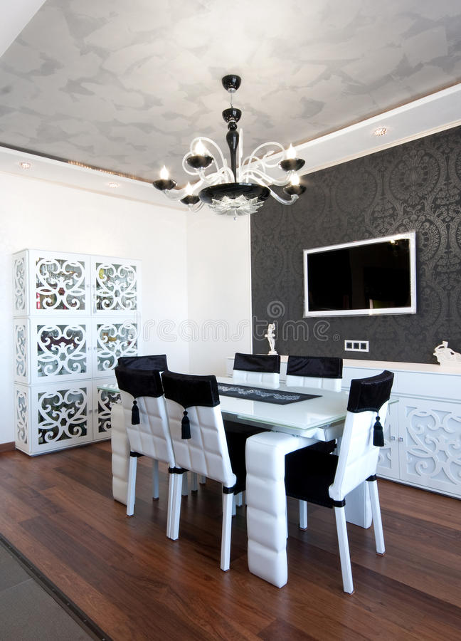 Modern dining room in black and white colors. Modern design dining room in black and white colors stock image