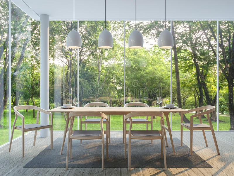 Modern dining room in the glass house 3d render image stock illustration