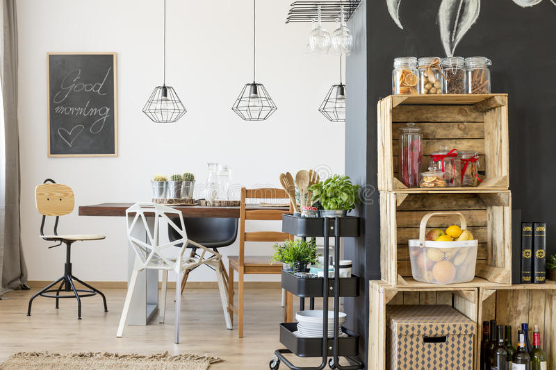 Modern dining room interior. With communal table stock images