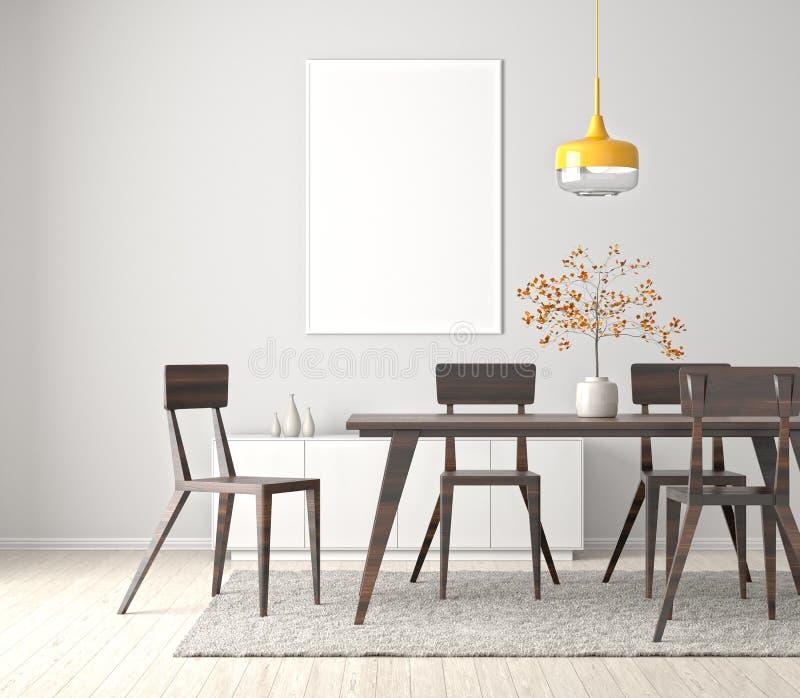 Modern dining room with poster frame mock up. 3d illustration royalty free illustration