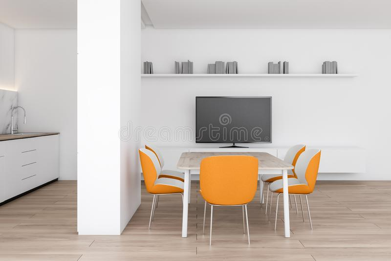 Modern dining room with TV. Interior of modern dining room with white walls, wooden floor, wooden table with orange chairs, TV on white cabinet and kitchen to royalty free illustration