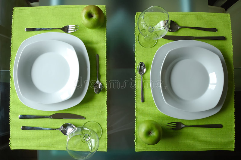 Modern dining set for two royalty free stock photos