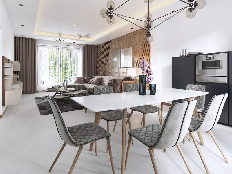 Modern dining table, contemporary living room in light colors with large windows royalty free illustration