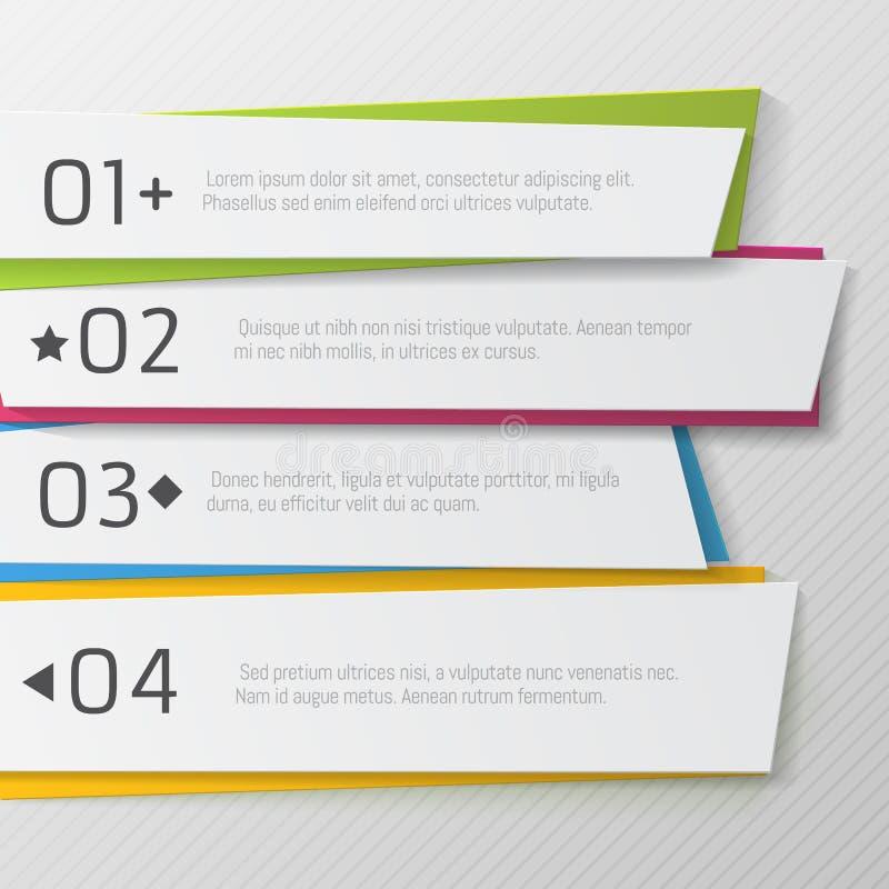 Modern document genummerd banners, kleurenontwerp vector illustratie