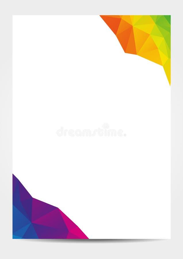 Modern A4 document malplaatje met kleurrijk laag veelhoekig binnen ornament royalty-vrije illustratie