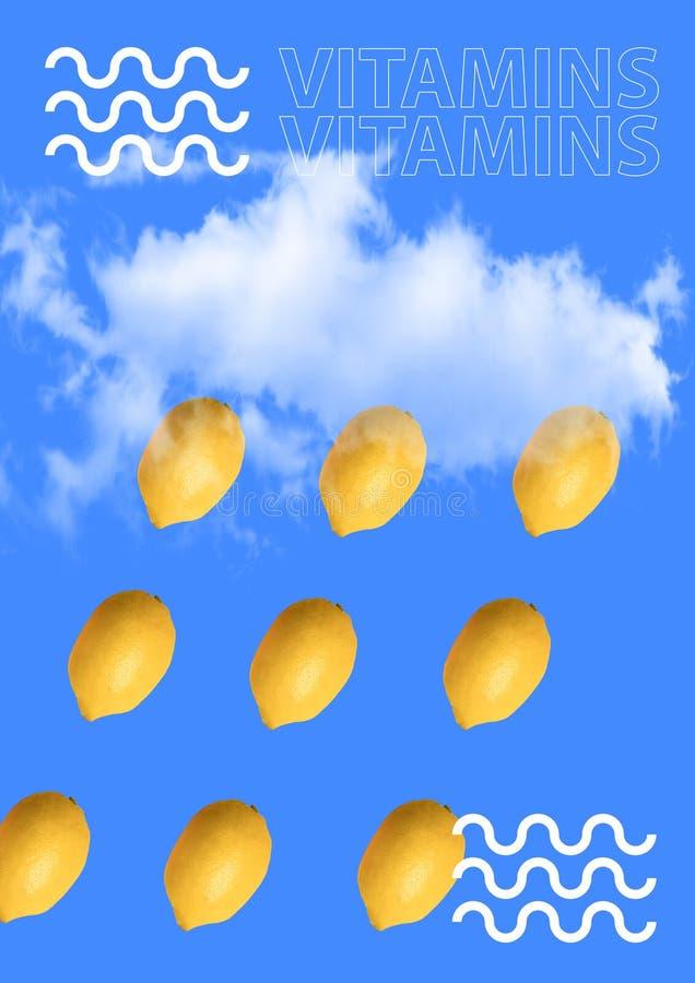 Modern document patroon van citroenen op een heldere achtergrond Eigentijdse kunstcollage beeld vector illustratie