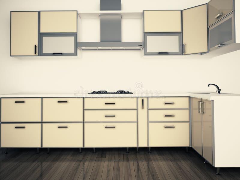 Modern Domestic Kitchen, Stylish Interior Design Royalty Free Stock Image