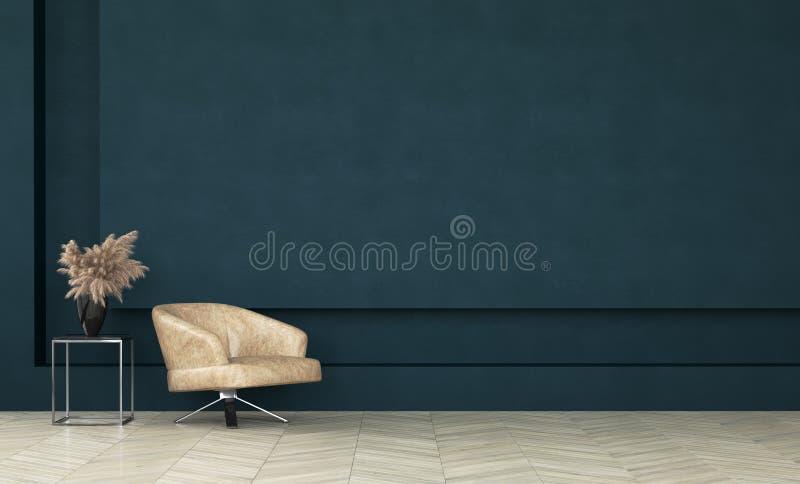 Modern donkergroen woonkamerbinnenland, muurspot omhoog stock afbeelding