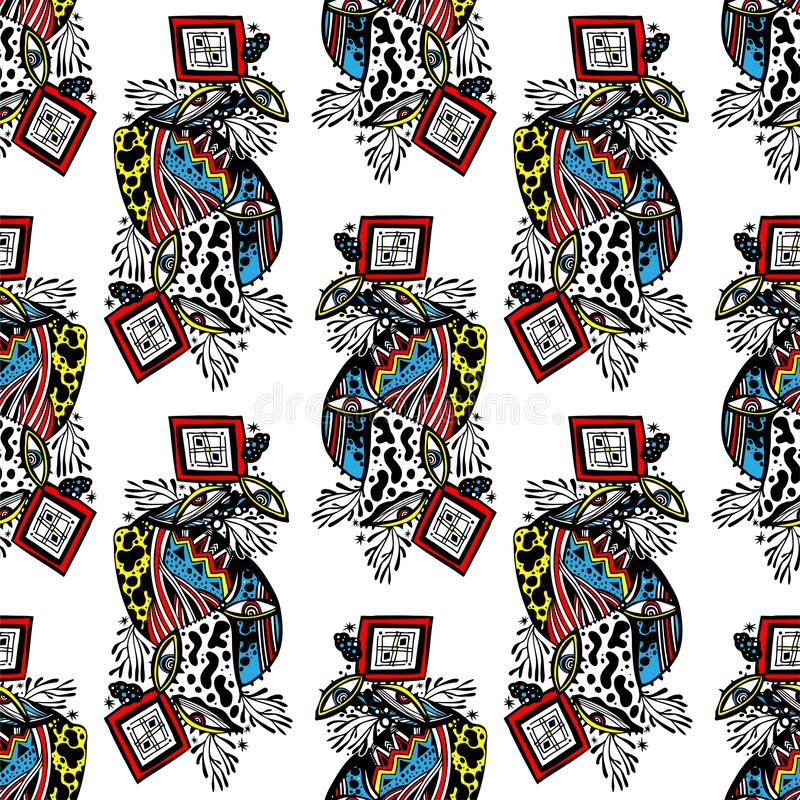 Free Modern Doodle Psychedelic Fashion Eyes Seamless Pattern In Hippie Or Memphis Style Stock Image - 180116501