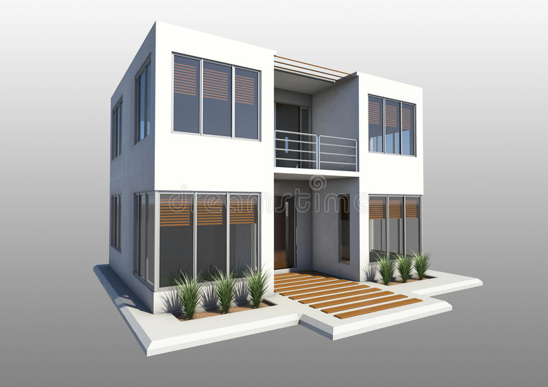 Modern double story house stock illustration