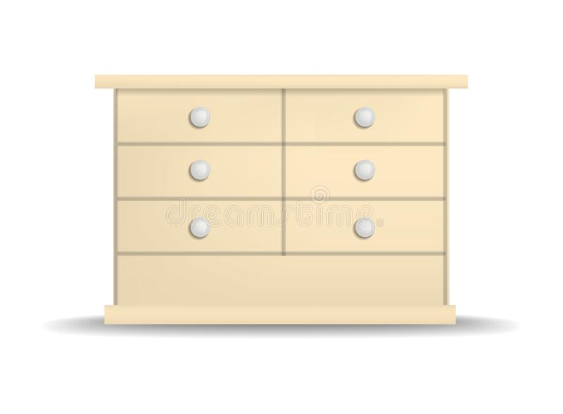 Modern drawer mockup, realistic style. Modern drawer mockup. Realistic illustration of modern drawer vector mockup for web design isolated on white background stock illustration