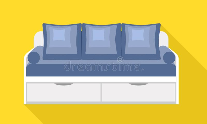 Modern drawer sofa icon, flat style. Modern drawer sofa icon. Flat illustration of modern drawer sofa vector icon for web design vector illustration