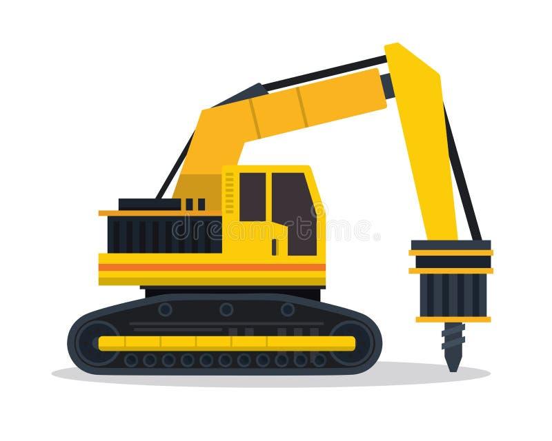 Modern Drilling Machine Flat Construction Vehicle Illustration vector illustration