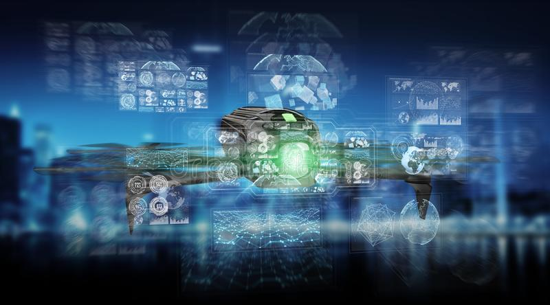 Modern drone 3D rendering stock illustration