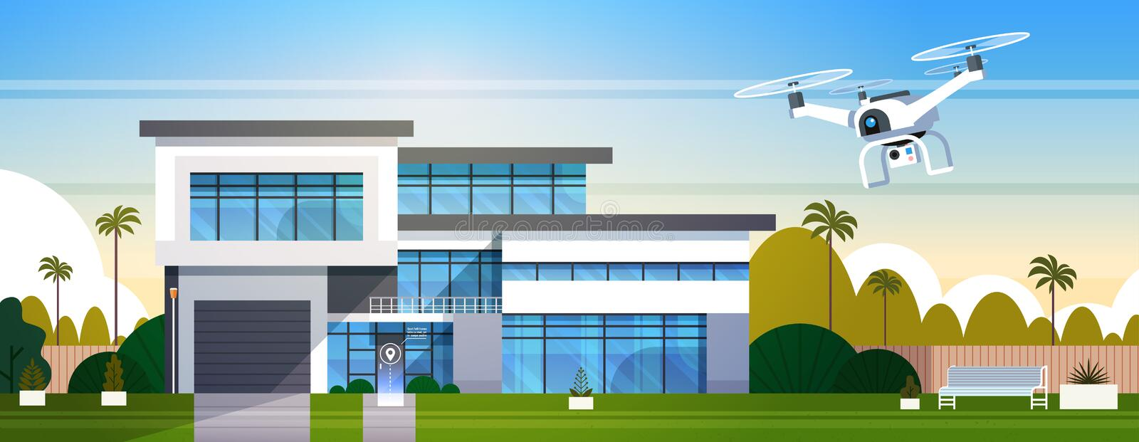 Modern Drone Fly Over House Building With Box, Air Transportation And Delivery Technology Concept royalty free illustration