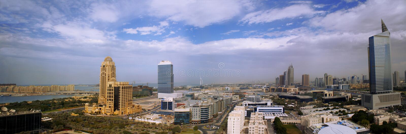 Modern dubai panorama, united arab emirates stock photography
