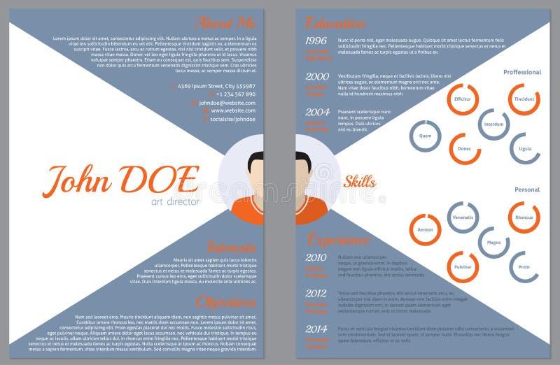 Modern dubbelsidig meritförteckningCV-mall för anställning royaltyfri illustrationer