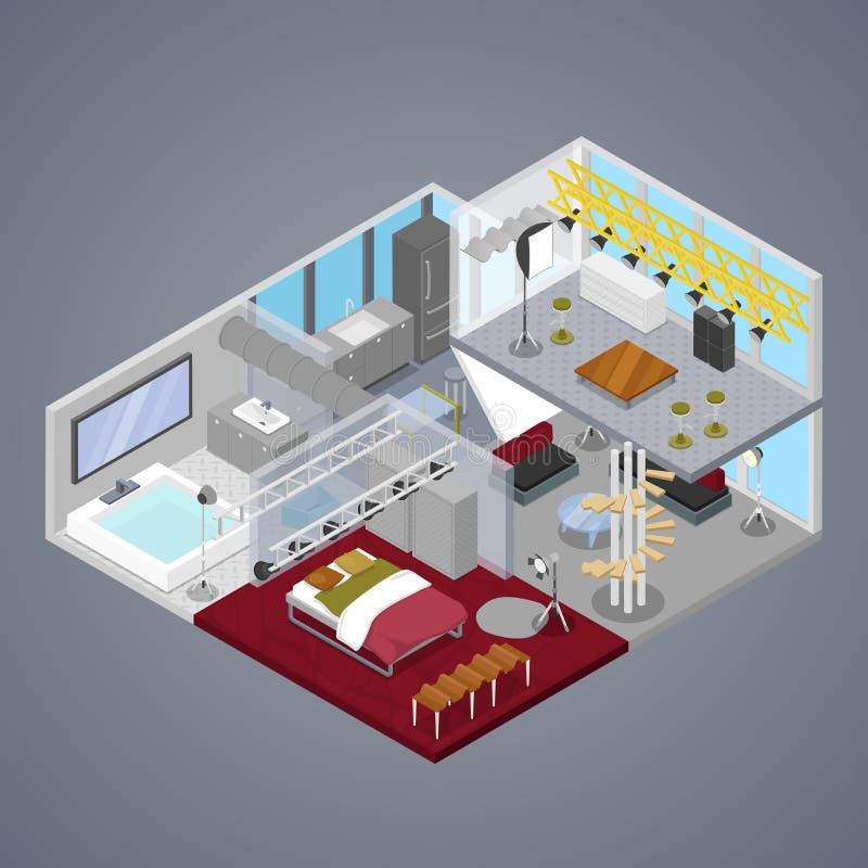 Modern Duplex Apartment Interior with Living Room and Bathroom. Isometric flat 3d illustration vector illustration
