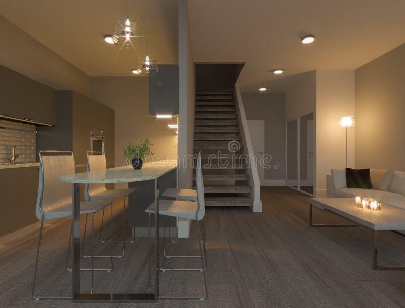 Modern duplex apartment kitchen interior. Modern, apartment, kitchen interior, cabinets, white table, white chairs, luxury modern kitchen furniture, objects on vector illustration