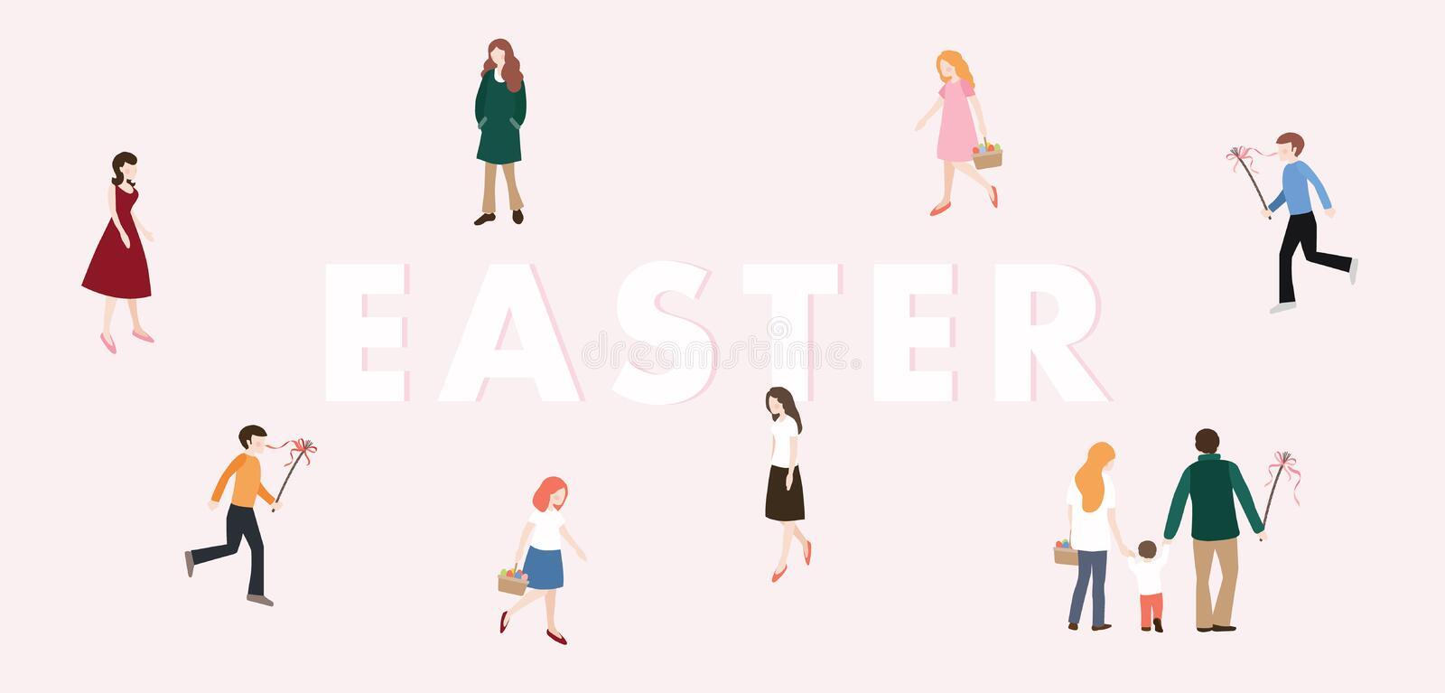 Modern Easter web banner. Boys with whip chasing the girls with colorful Easter eggs. Family, people walking. European vector illustration