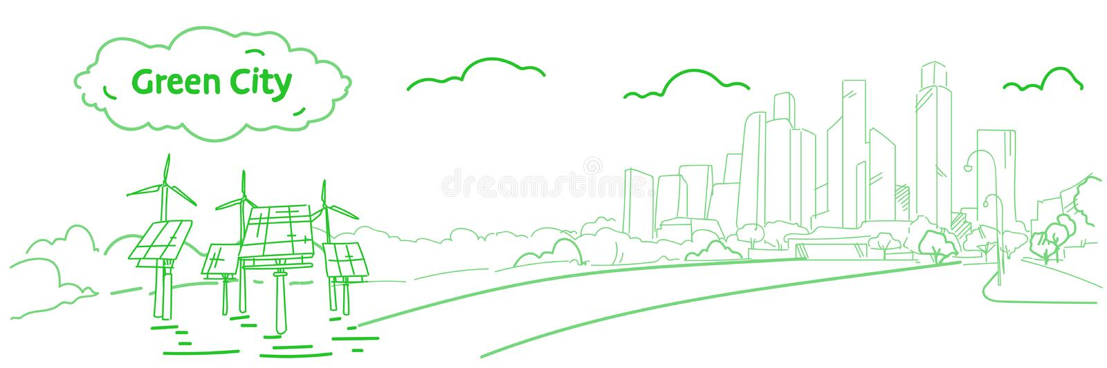 Modern eco city with wind turbines and solar panels green energy concept skyscraper cityscape background sketch flow vector illustration