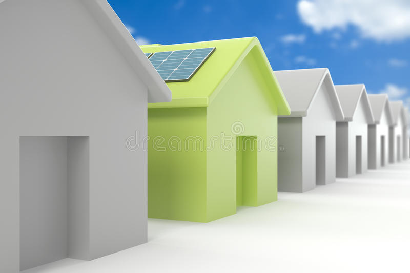 Modern eco house standing out from the crowd. High quality 3d image of a modern eco house standing out from the crowd vector illustration
