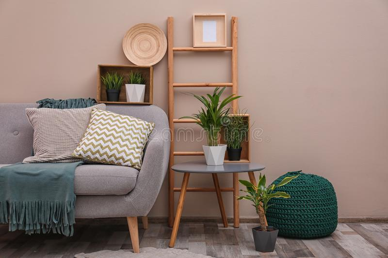 Modern eco style interior of living room with wooden crates and sofa. Near color wall royalty free stock photo