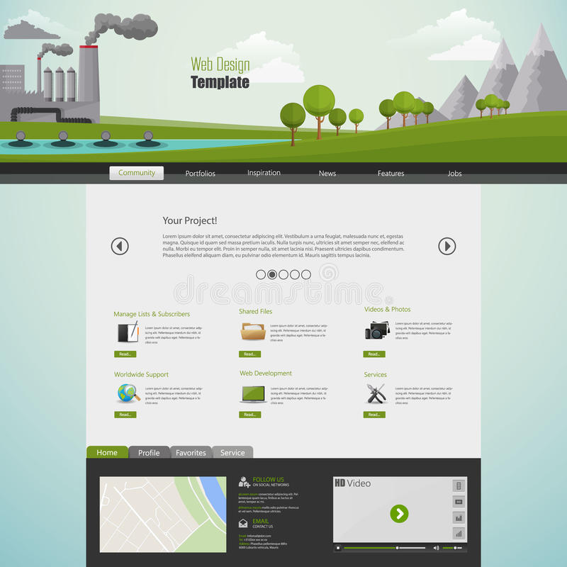 Modern Eco Website Template With Flat Eco Pollution Illustration ...